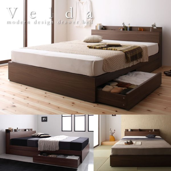 画像1: ウォールナット柄 棚・コンセント付き収納ベッド【General】ジェネラル