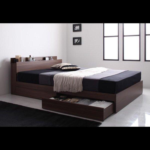 画像4: ウォールナット柄 棚・コンセント付き収納ベッド【General】ジェネラル