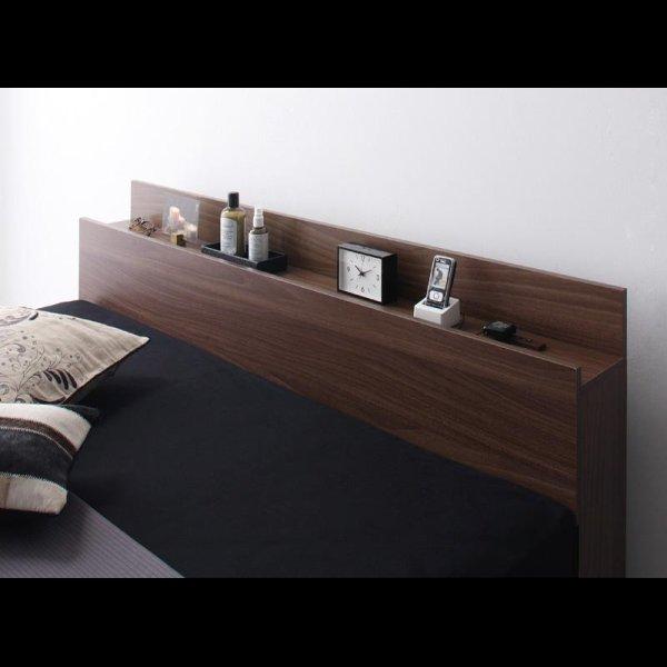画像3: ウォールナット柄 棚・コンセント付き収納ベッド【General】ジェネラル