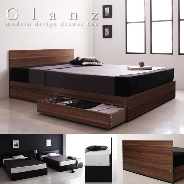 画像1: フラットパネルモダンデザイン収納ベッド【Glanz】グランツ お手頃価格