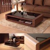 ブラックガラストップローテーブル Loob(ウォールナット仕様)