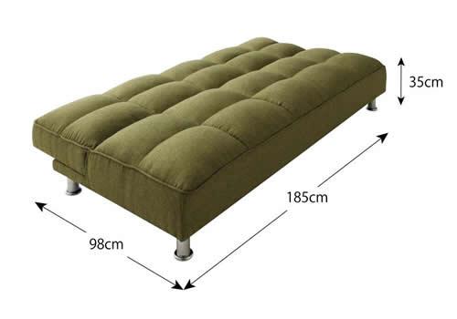 ファブリックタイプシンプルソファーベッド ベッド時サイズ