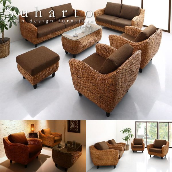 画像1: リゾートホテルにもおすすめのアジアン家具!高級ヒヤシンスソファ【Suharto】スハルト