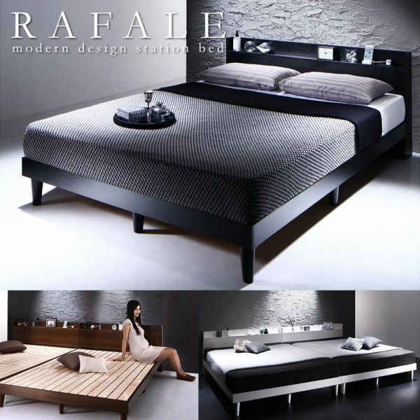 画像1: 棚・コンセント付きすのこベッド【Rafale】ラファール 価格訴求商品