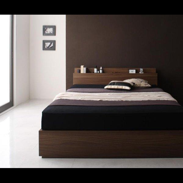画像2: ウォールナット柄 棚・コンセント付き収納ベッド【Velda】ヴェルダ