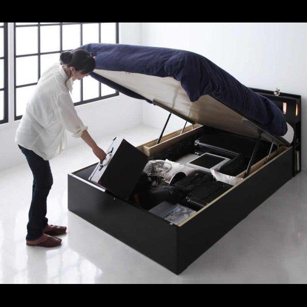 画像3: モダンライトコンセント付き・ガス圧式跳ね上げ収納ベッド【Kezia】ケザイア