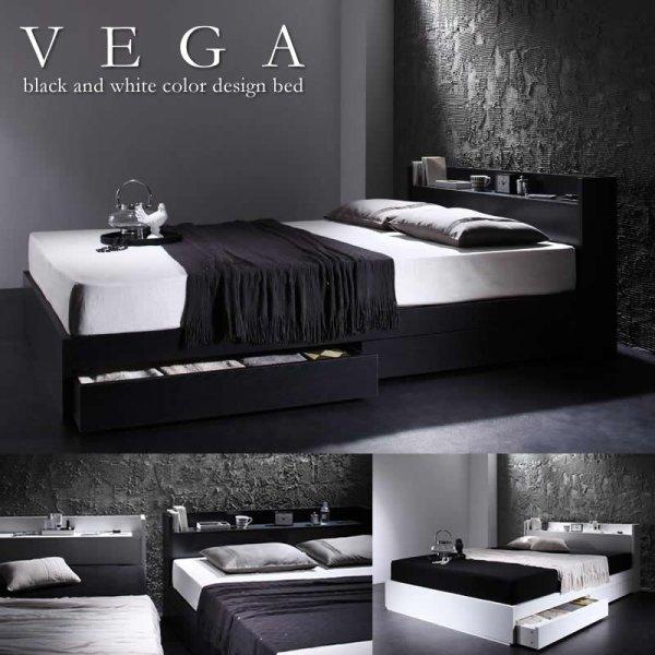画像1: モダンベッド 棚・コンセント付き収納ベッド【VEGA】ヴェガ