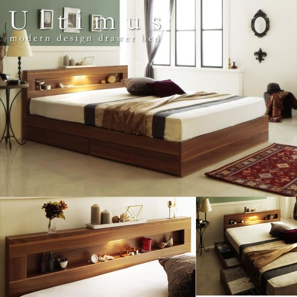 画像1: 【価格訴求モデル】LEDライト・コンセント付き収納ベッド【Ultimus】ウルティムス