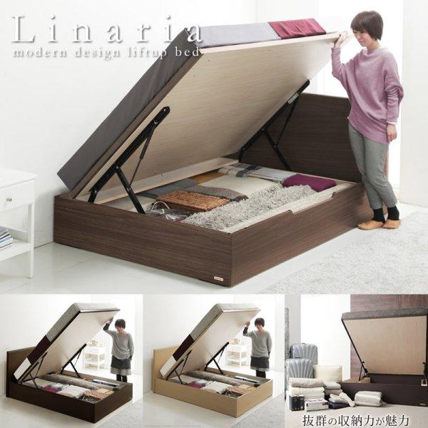 画像1: フラットデザインフランスベッド製ガス圧式収納ベッド【Linaria】リナリア