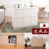 大人気収納家具!完成品・日本製スクエアキャビネット 幅104.5ハイ 板扉タイプ