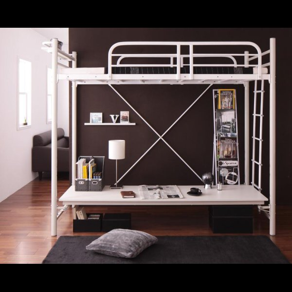 画像3: 3段可動デスク&コンセント宮棚付きロフトベッド【Strain】ストレイン