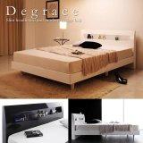 鏡面光沢仕上げ 棚・コンセント付きモダンデザインすのこベッド【Degrace】ディ・グレース