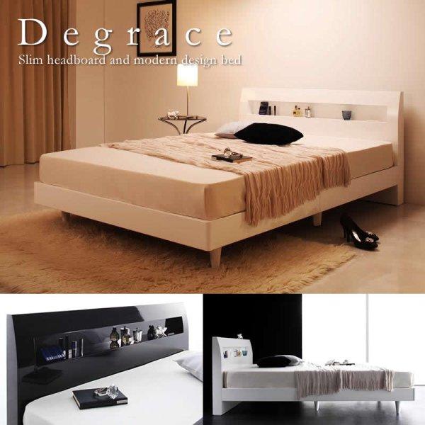 画像1: 鏡面光沢仕上げ 棚・コンセント付きモダンデザインすのこベッド【Degrace】ディ・グレース