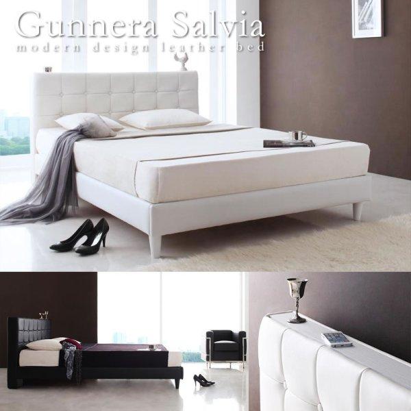 画像1: 高級レザーを使ったダブル/クイーンサイズベッド【Gunnera】/【Salvia】