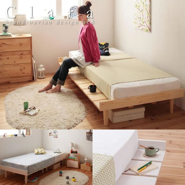 画像1: ショート丈北欧デザインベッド【Clara】クラーラ マットレス長さ180cm