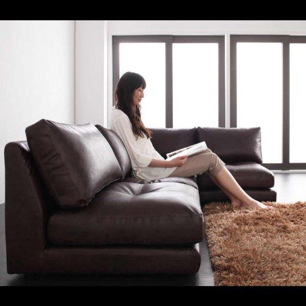 画像3: レザー仕様:フロアコーナーソファ:ルチアーノ。単品購入可能!
