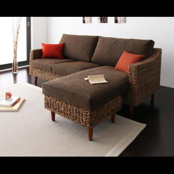 画像3: アジアン家具アバカシリーズ【Parama】パラマ コーナーカウチソファ/W120テーブル