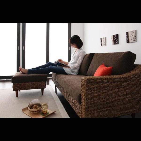 画像4: アジアン家具アバカシリーズ【Parama】パラマ コーナーカウチソファ/W120テーブル