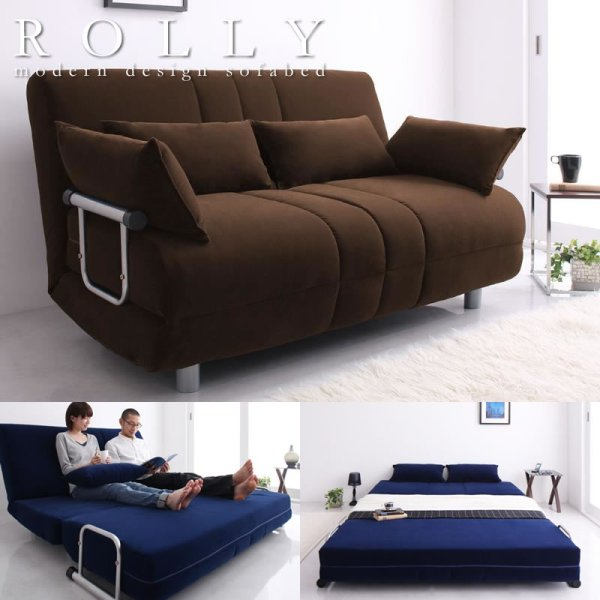 画像1: ふたりで寝られるカウチソファーベッド【ROLLY】ローリー ダブルサイズ