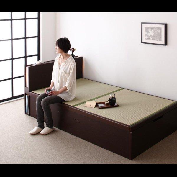 画像2: 照明・棚付きガス圧式収納畳ベッド【月花】ツキハナ