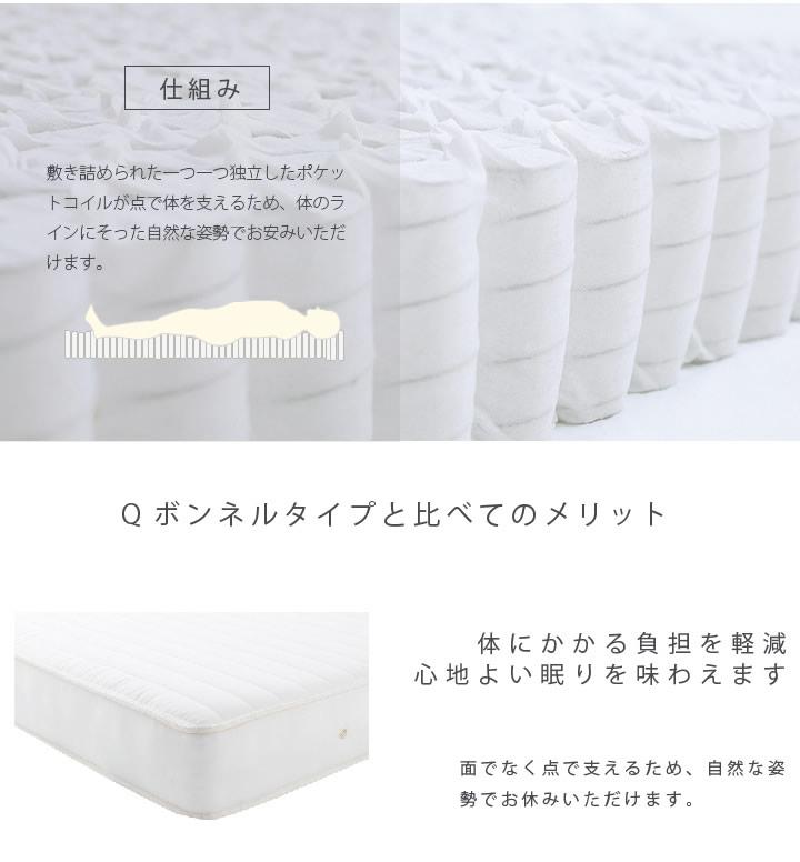 防ダニ抗菌加工面仕様国産ポケットコイルマットレス 選べる硬さ ショート/ロング対応を通販で激安販売