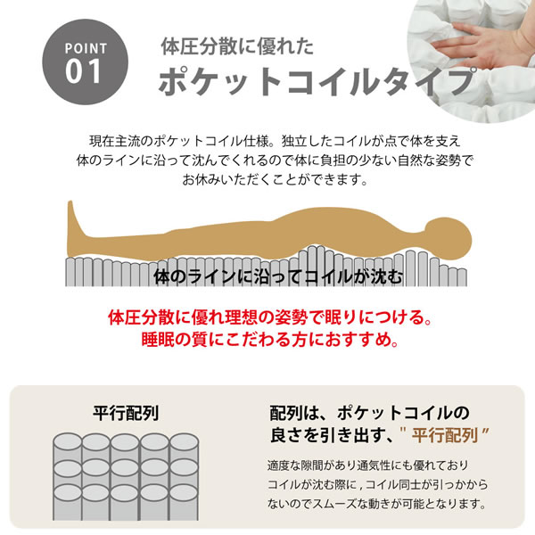 ショート丈にも対応したポケットコイル脚付きマットレスベッドを通販で激安販売
