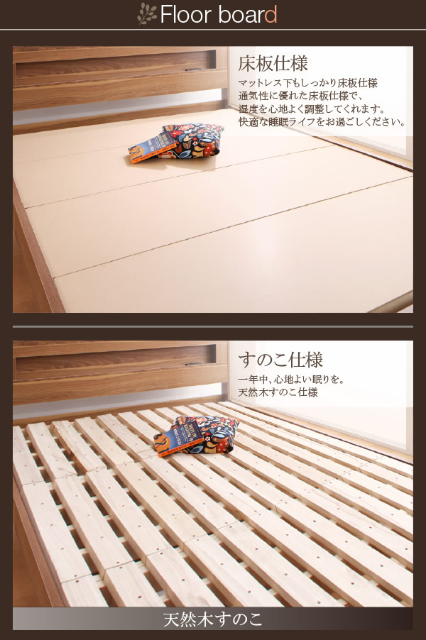 LEDライト付き北欧デザインベッド【Pistos】ピストース すのこも選べて敷布団にも対応!を通販で激安販売