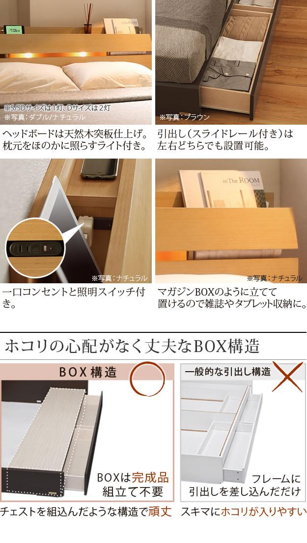 マガジンラック・BOX構造引き出し収納付きベッド フランスベッド製ベッドフレームを通販で激安販売