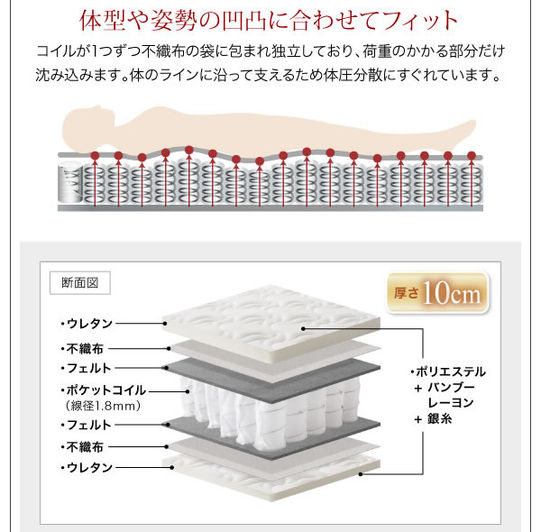シンプルデザインショート丈脚付きマットレスボトムベッド【Manege】マネージュ を通販で激安販売