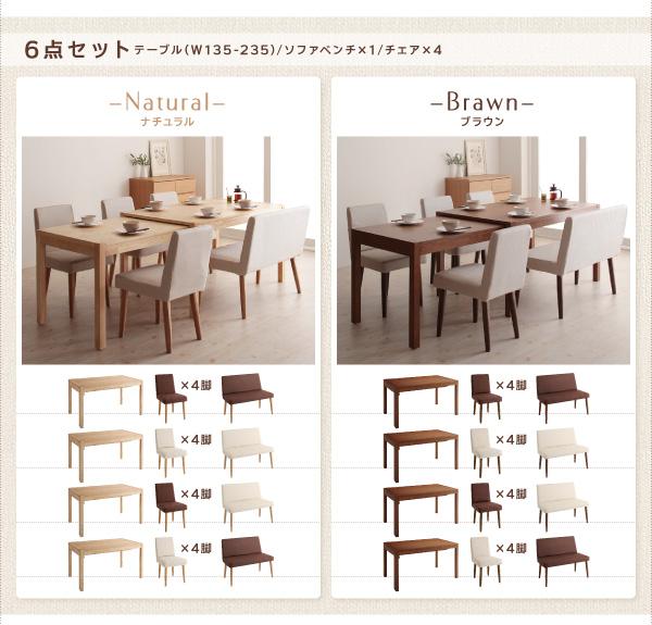 スライド伸縮テーブル&ソファベンチダイニングセット【Witz】ヴィッツ を通販で激安販売