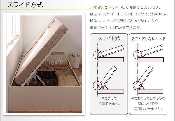 スリム棚タイプ・ガス圧式跳ね上げ大容量収納ベッド【Freeda】フリーダの激安通販