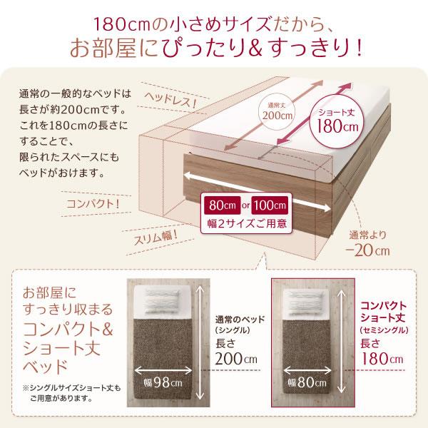ショート丈・ヘッドレス仕様コンパクトベッド【Amour】アムール サイドテーブルもを通販で激安販売