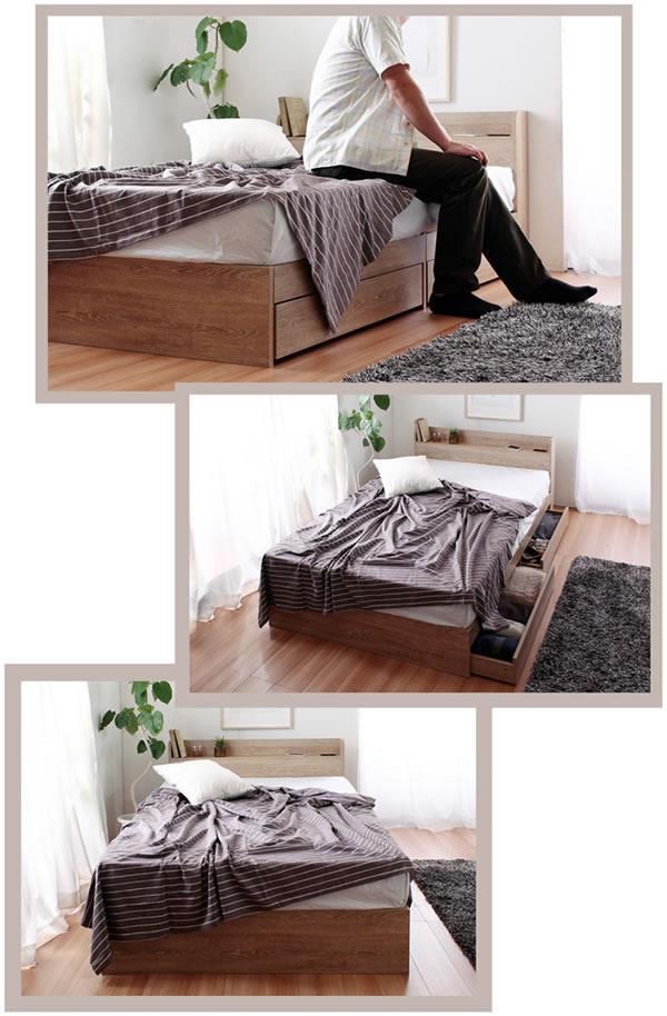 超特価!シンプルデザイン収納ベッド【Esteban】 メラミン化粧板仕上げを通販で激安販売