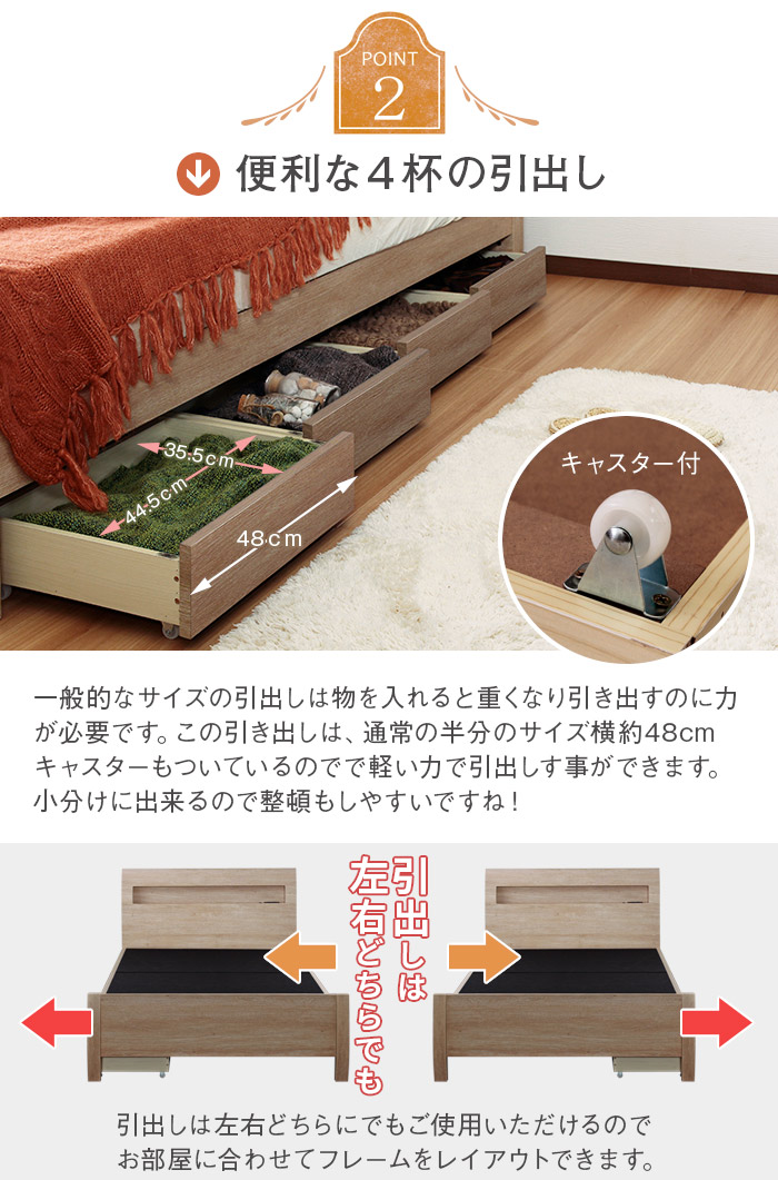 おしゃれベッド【Fennel】フェンネルLED照明・引き出し収納付きを通販で激安販売