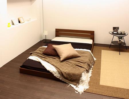 オールレザーデザインパネルフロアベッド264 ブラウン