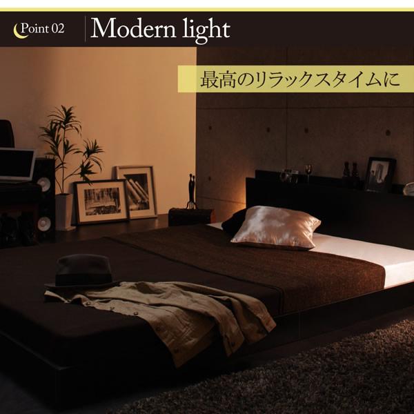 スリムモダンライト付きフロアベッド 【Crescent moon】クレセントムーンを通販で激安販売