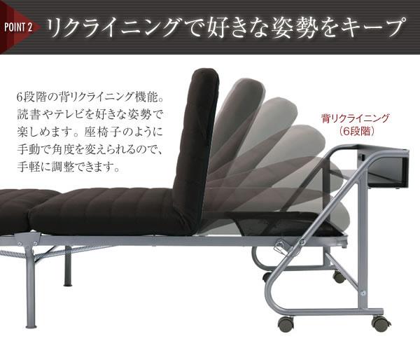 宮付きリクライニング折りたたみベッド【Tars】タルス 説明画像3
