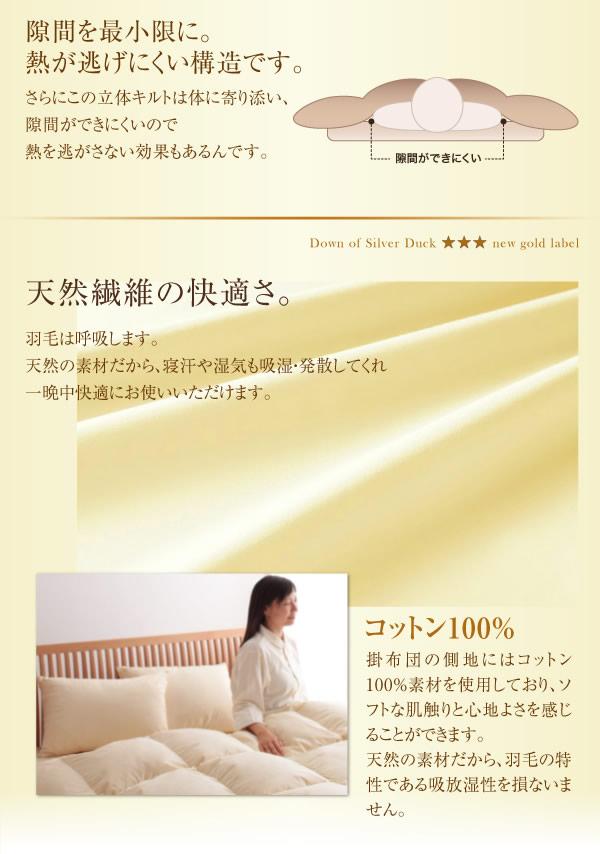日本製防カビ消臭 ダックダウン ニューゴールドラベル 羽毛掛布団【Alice】アリーチェを通販で激安販売