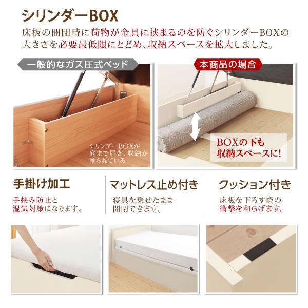 すのこ床板採用!本棚付きガス圧式収納ベッド【Miriam】を通販で激安販売
