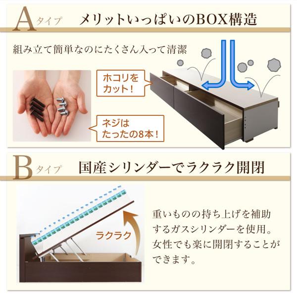 ガス圧式跳ね上げ&BOX型引き出し収納連結ベッド【Parlare】パルラーレ 棚付き 日本製を通販で激安販売