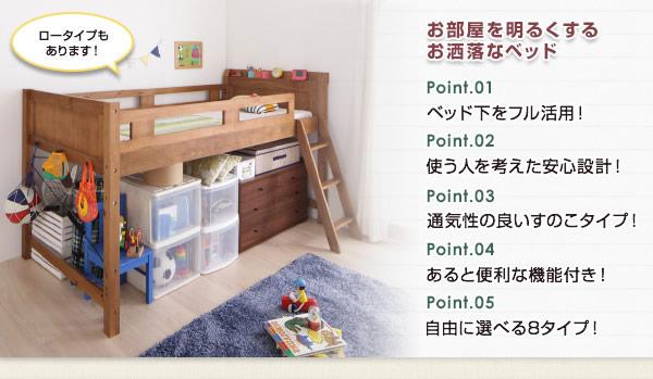 天然木宮付きデザインロフトベッド【pajarito】パハリートを通販で激安販売