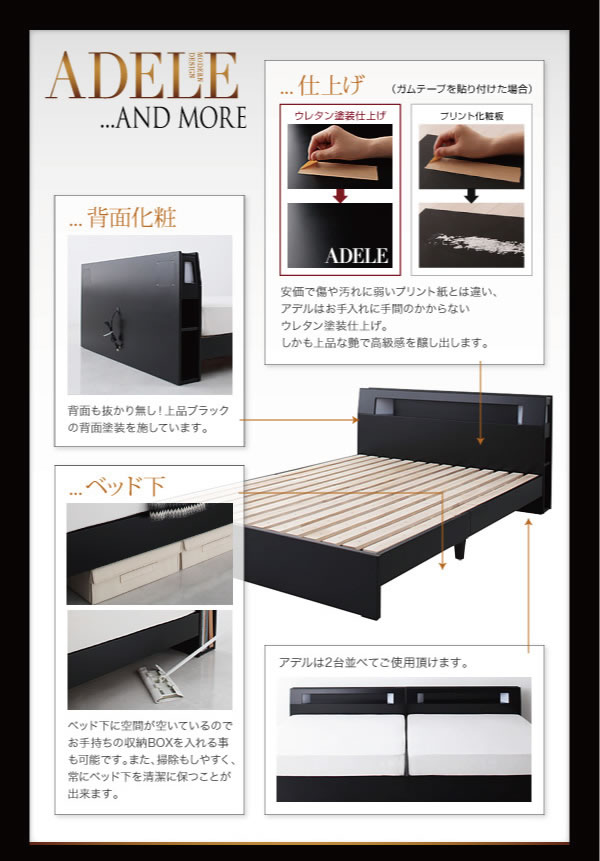 モダンライト・コンセント付きパネルベッド【ADELE】アデル 激安通販