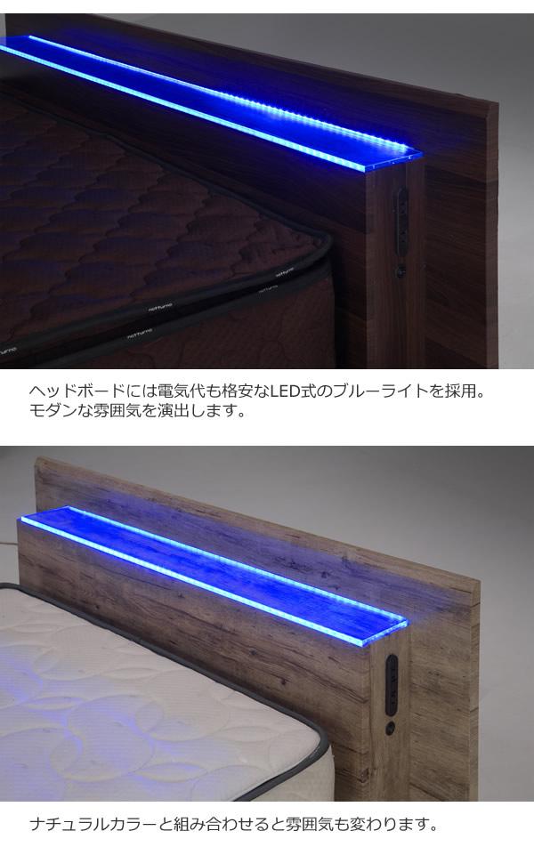LED照明付きステージデザインローベッド【Tabitha】 お買い得ベッドを通販で激安販売