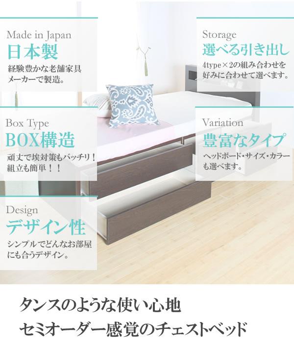 引き出しタイプが選べるチェストベッド【Varier】日本製 おしゃれな棚付きを通販で激安販売
