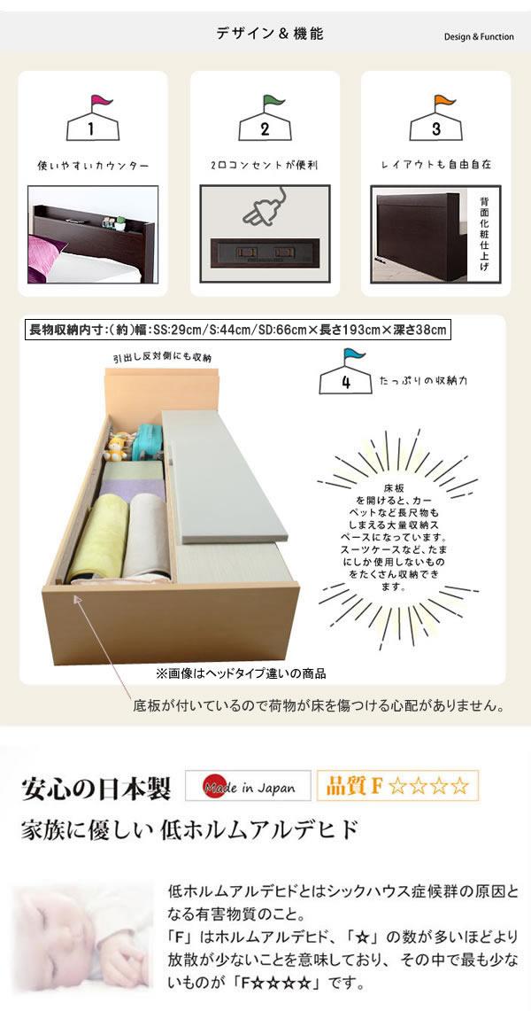 引き出しタイプが選べるチェストベッド【Varier】日本製 スリム棚付きを通販で激安販売