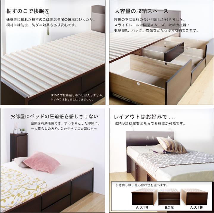 奥行きが深い頑丈大型引き出しベッド【Deep】日本製 ヘッドレスを通販で激安販売