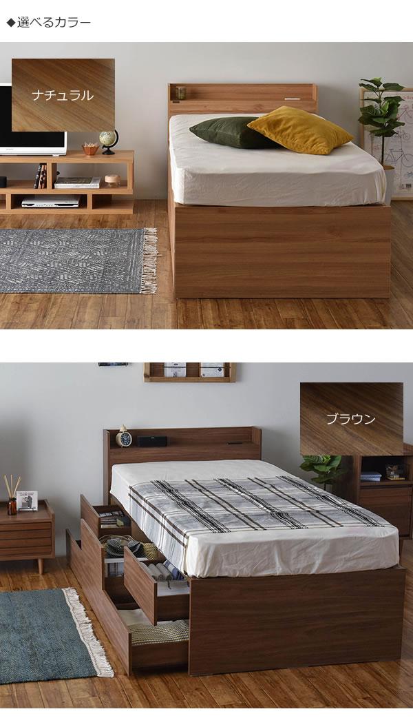 シングルベッド限定!BOX型チェストベッド【Lorna】ローナ 収納部配列変更対応を通販で激安販売