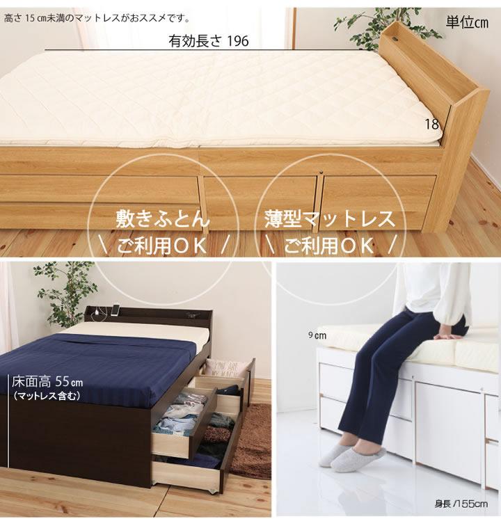 日本製頑丈設計大容量収納格安チェストベッド【Paula】 ポーラ 低ホルムアルデヒドを通販で激安販売
