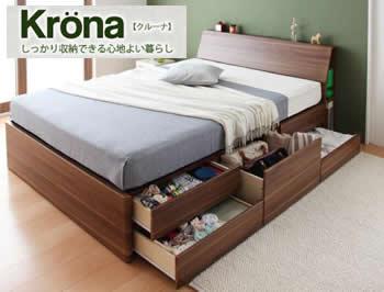 北欧デザインBOXタイプチェストベッド【Krona】クルーナ