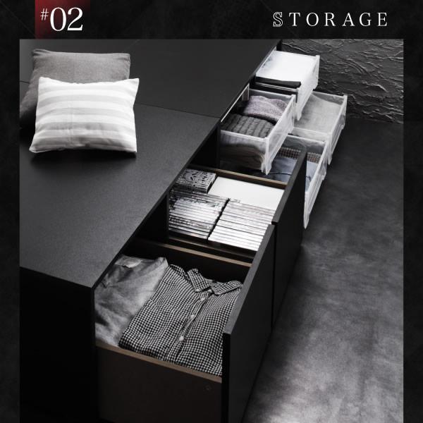 ヘッドレスにもなる棚・コンセント付き頑丈仕様大容量収納ベッド【Biblos】ビブロスを通販で激安販売